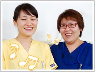 新人看護師の市ノ渡さん、チューターの仲門さん